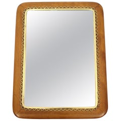 Swedish Mahogany and Brass Mirror from Svensk Hemslöjd, 1950s