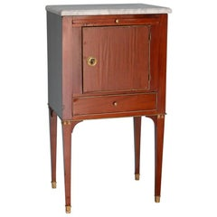 Swedish Mahogany Gustavian-Style with Marble Top Side Table/Cabinet, circa 1850