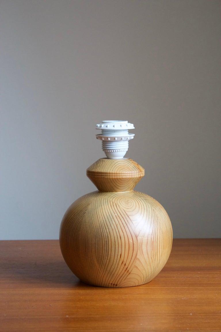 Modern Swedish Maker, Signed Table Lamp, Solid Pine, Fabric, Sweden, 1983 For Sale