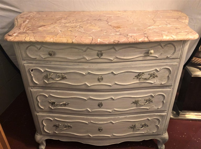 French Swedish Marble-Top Four-Drawer Chest or Commode or Nightstand Louis XV Style For Sale