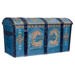 Swedish Mid 19th Century Hand Painted Oak Dome Top Coffer