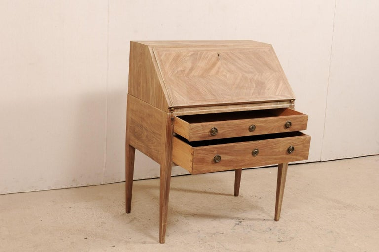 Carved Swedish Mid-20th Century Drop-Leaf Secretary Writing Desk with Drawers For Sale
