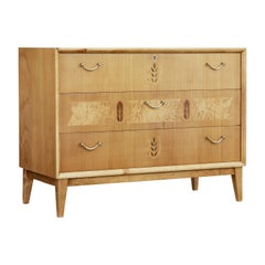 Swedish Mid-20th Century Elm Inlaid Chest of Drawers