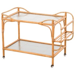 Swedish Midcentury Bamboo and Glass Serving Cart