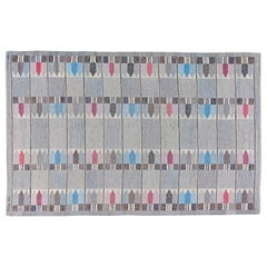Swedish Midcentury Gray, Blue and Pink Handwoven Wool Rug by Kertin Butler