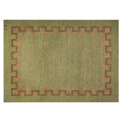 Swedish Midcentury Green and Coral Red Handwoven Wool Rug by Ellen Stahlbrand