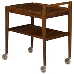 Swedish Mid-Century Modern Accent Table Serving Bar Cart by Erik Gustafsson