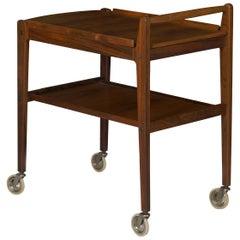 Swedish Mid-Century Modern Accent Table Serving Bar Cart by Erik Gustafsson