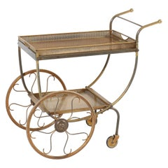 Swedish Mid-Century Modern Brass Bar Cart or Tea Trolley by Svenskt Tenn, 1950s