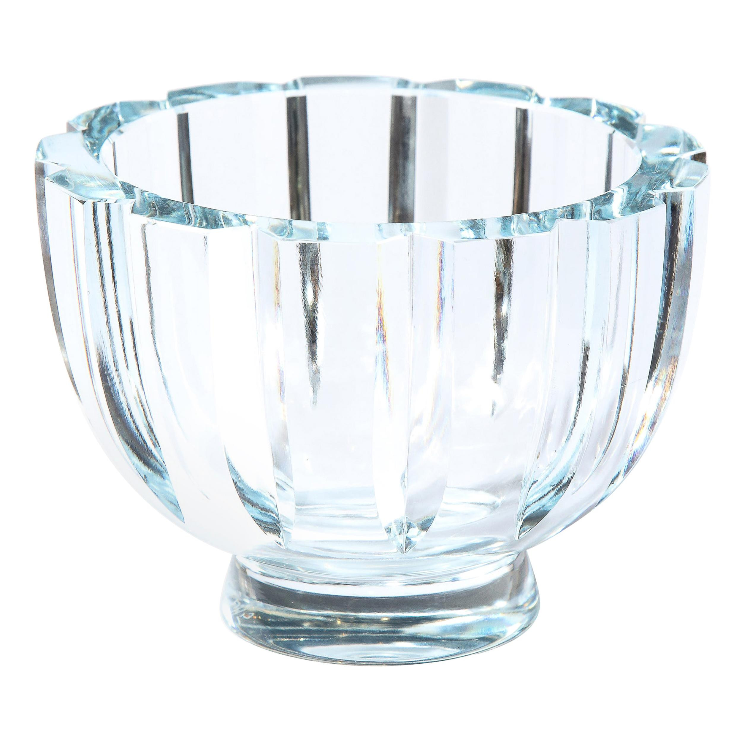Swedish Mid-Century Modern Channel Faceted Translucent Light Blue Glass Bowl