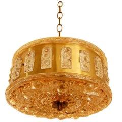 Swedish Mid-Century Modern Glass and Brass Pendant Chandelier