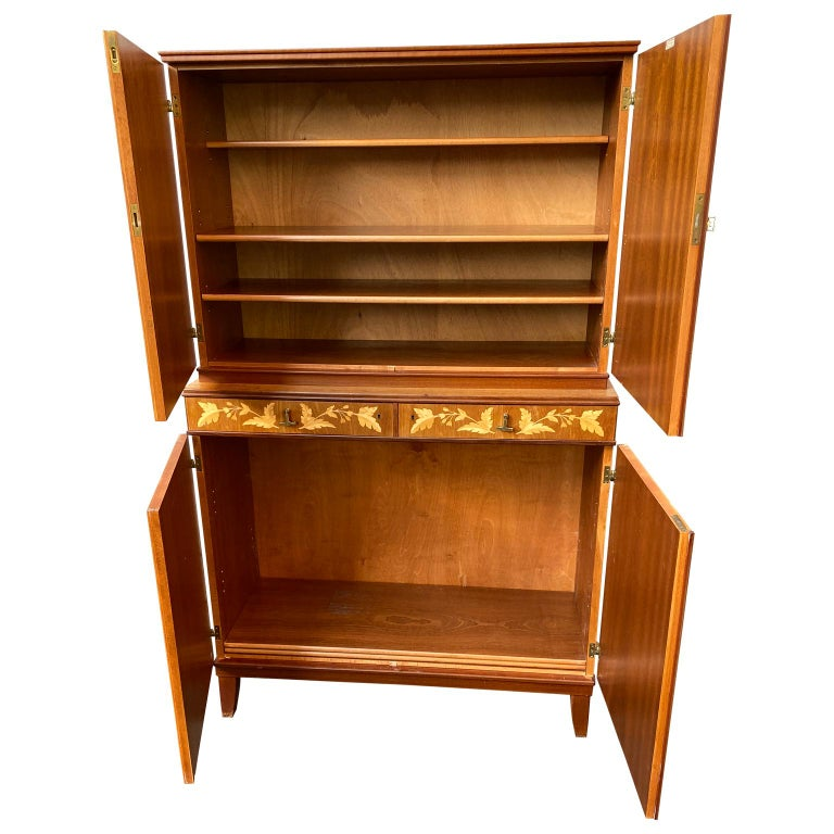 Swedish Mid-Century Modern Inlaid Cabinet with Brass Hardware by J.O. Carlssons In Good Condition For Sale In Haddonfield, NJ