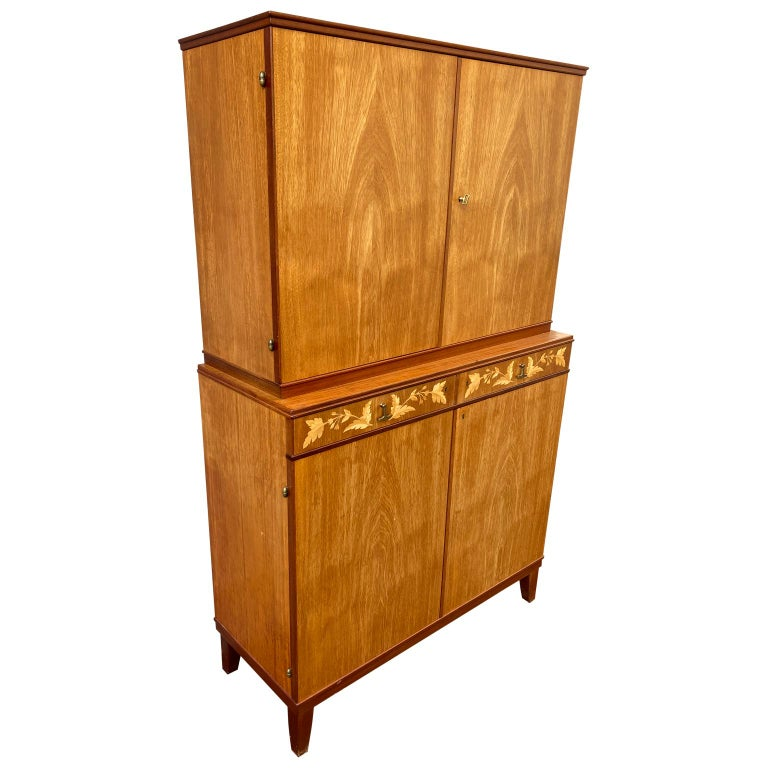 20th Century Swedish Mid-Century Modern Inlaid Cabinet with Brass Hardware by J.O. Carlssons For Sale