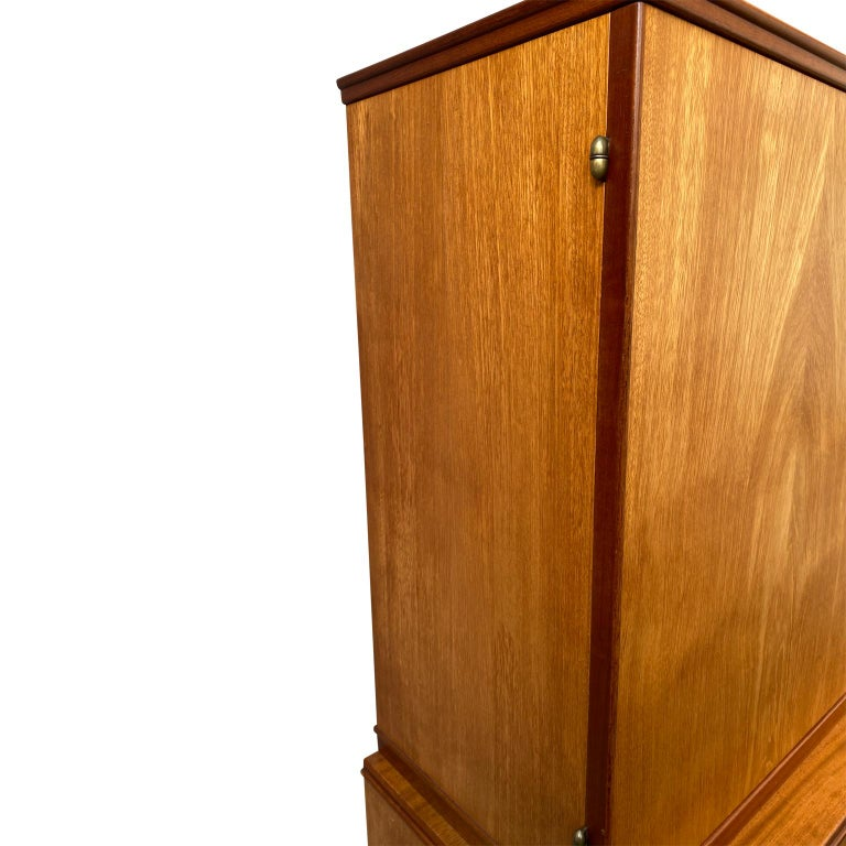 Swedish Mid-Century Modern Inlaid Cabinet with Brass Hardware by J.O. Carlssons For Sale 1