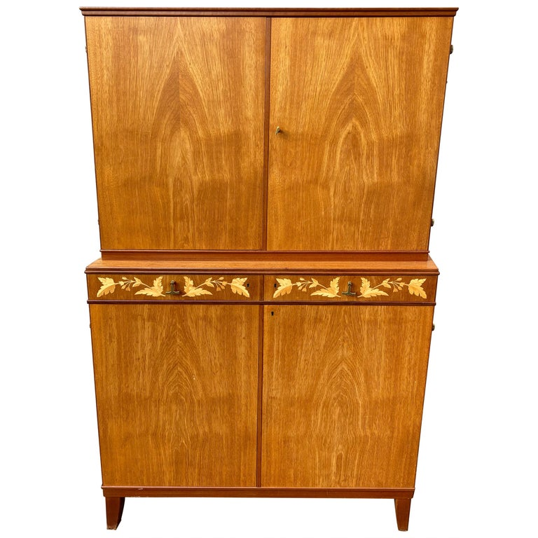 Swedish Mid-Century Modern Inlaid Cabinet with Brass Hardware by J.O. Carlssons For Sale