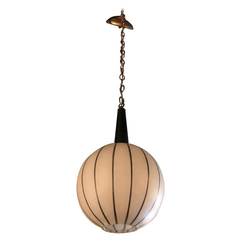 Swedish Mid Century Modern Striped Open Globe Pendant Light For Sale