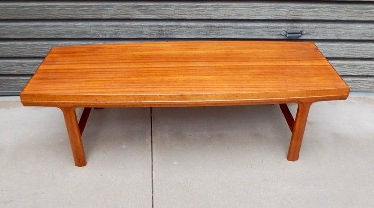 Swedish Mid Century Modern Teak Coffee Table With Hidden Side Drawers