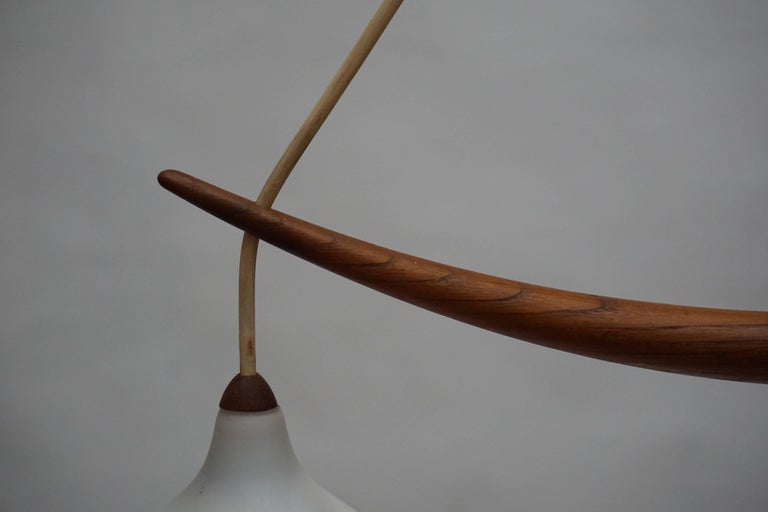 Mid-Century Modern Swedish Midcentury Pendant in Oak and Opaline Glass For Sale
