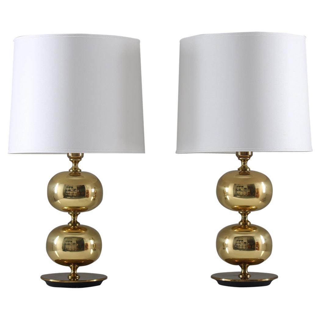 Swedish Midcentury Table Lamps in Brass by Stilarmatur Tranås