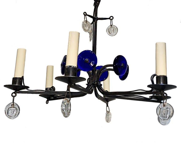 Mid-20th Century Swedish Midcentury Wrought Iron Chandelier For Sale