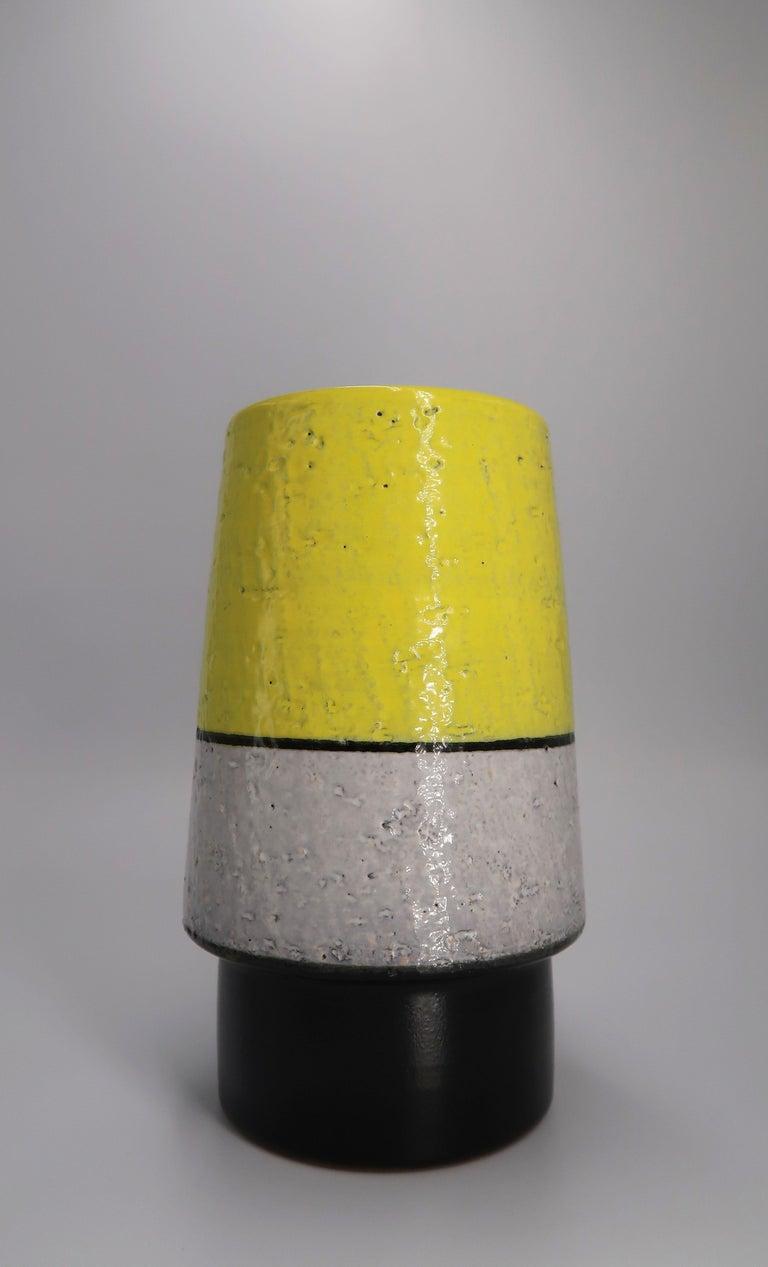 Mid-Century Modern Swedish Midcentury Yellow, Grey, Black Vase by Mari Simmulson for Upsala Ekeby For Sale