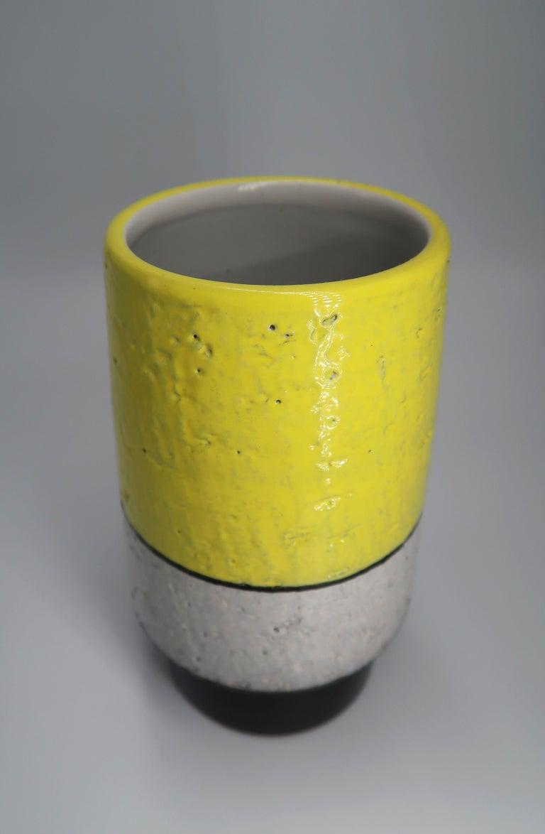 Glazed Swedish Midcentury Yellow, Grey, Black Vase by Mari Simmulson for Upsala Ekeby For Sale