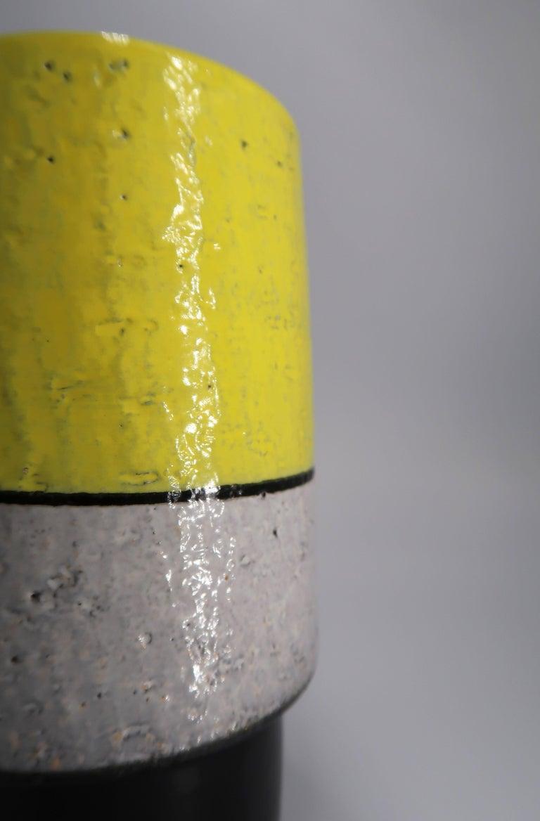 Mid-20th Century Swedish Midcentury Yellow, Grey, Black Vase by Mari Simmulson for Upsala Ekeby For Sale