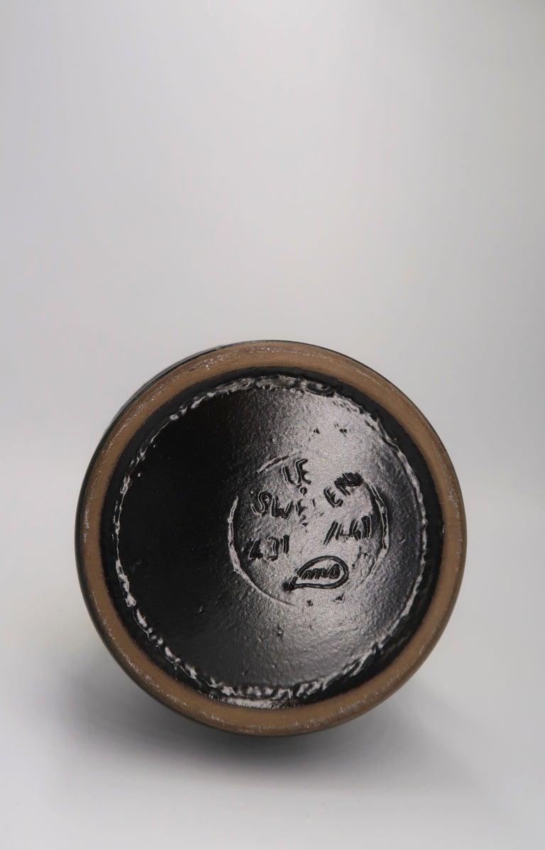 Pottery Swedish Midcentury Yellow, Grey, Black Vase by Mari Simmulson for Upsala Ekeby For Sale