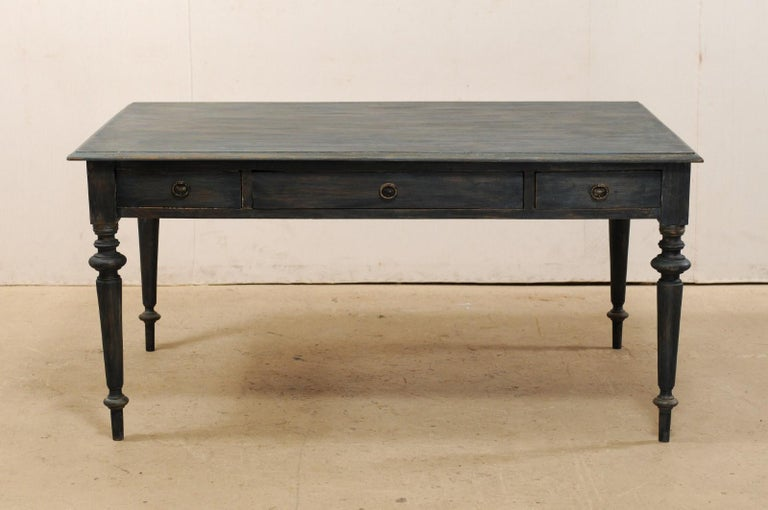 Swedish Painted Wood Partners Desk with Drawers and Turned Legs 7
