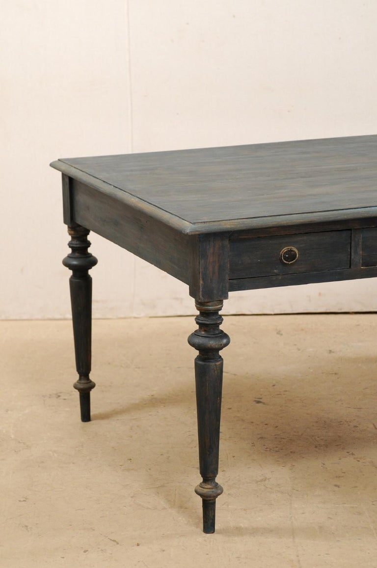 19th Century Swedish Painted Wood Partners Desk with Drawers and Turned Legs