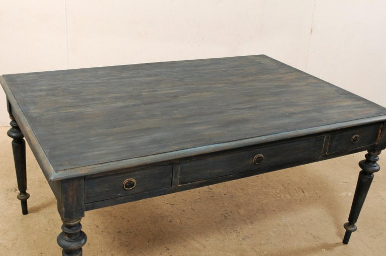 Swedish Painted Wood Partners Desk with Drawers and Turned Legs 1