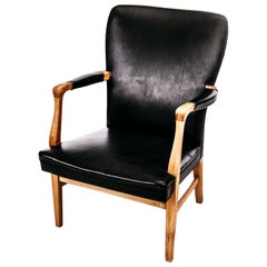 Swedish Midcentury Armchair with Oak Frame