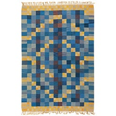 Swedish Midcentury Blue and Yellow Hand Knotted Wool Rug by Marta Rinde Ramsback