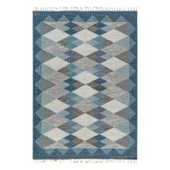 Swedish Midcentury Blue, Beige and Gray Flat-Woven Wool Rug