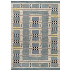 Swedish Midcentury Blue, Gray and Yellow Flat-Woven Rug Signed 'SH'