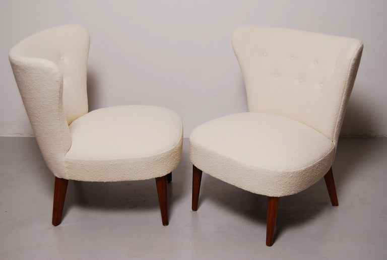 Swedish Midcentury Boucle Lounge Chairs In Good Condition For Sale In Stockholm, SE