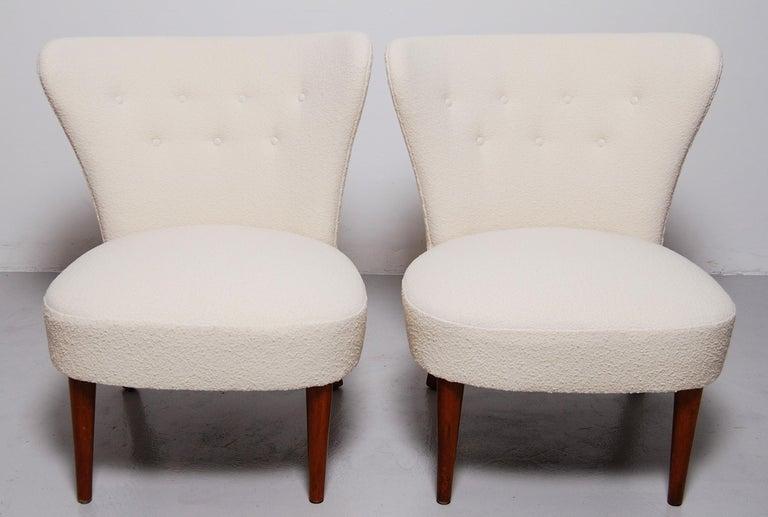 Bouclé Swedish Midcentury Boucle Lounge Chairs For Sale