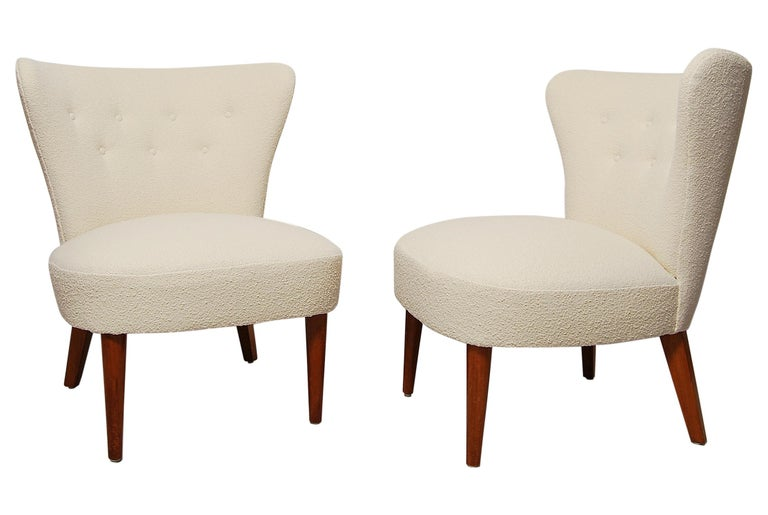 Swedish Midcentury Boucle Lounge Chairs For Sale