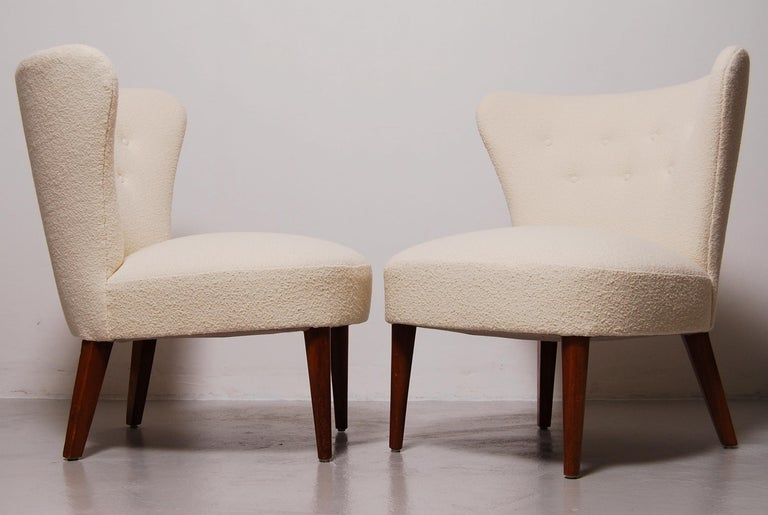 Scandinavian Modern Swedish Midcentury Boucle Lounge Chairs For Sale