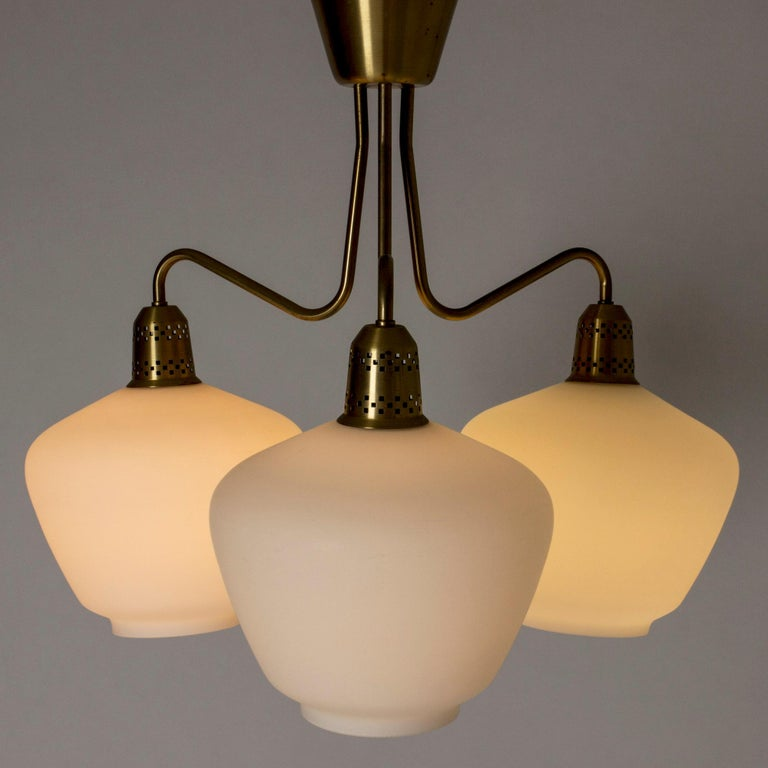 Scandinavian Modern Swedish Midcentury Brass and Glass Chandelier, 1950s For Sale