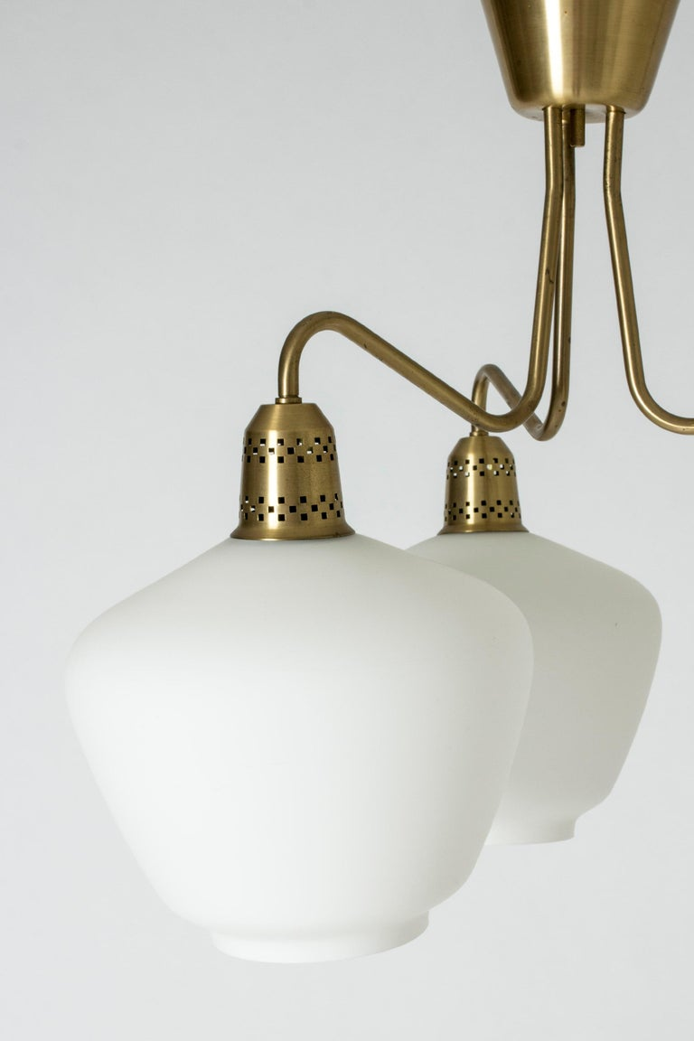 Mid-20th Century Swedish Midcentury Brass and Glass Chandelier, 1950s For Sale