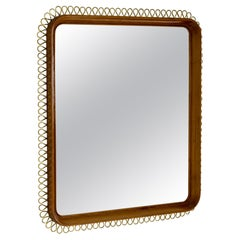 Swedish Midcentury Brass and Mahogany Mirror in the Style of Josef Frank, Sweden