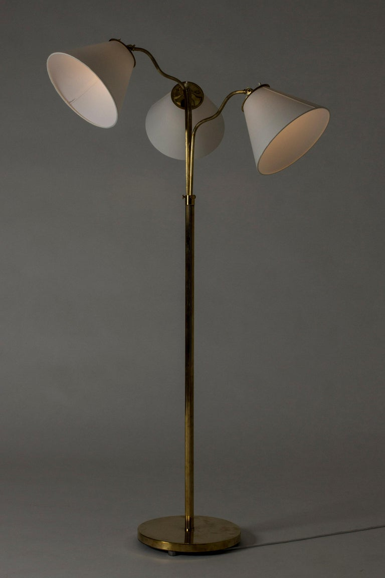 Swedish Midcentury Brass Floor Lamp, 1940s In Good Condition For Sale In Stockholm, SE