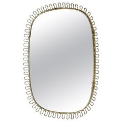 Swedish Midcentury Brass Mirror in the Style of Josef Frank