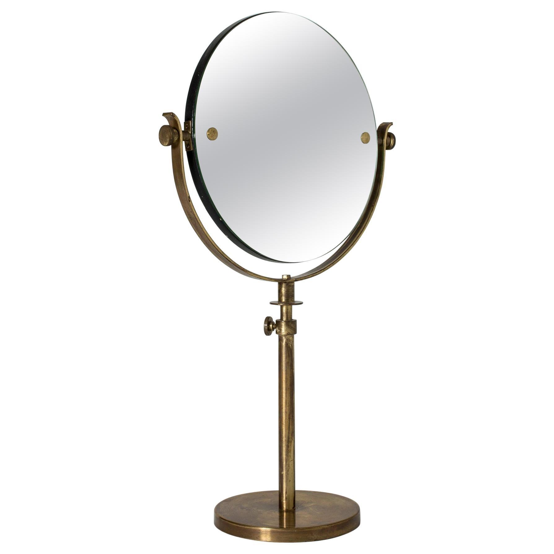Swedish Midcentury Brass Table Mirror