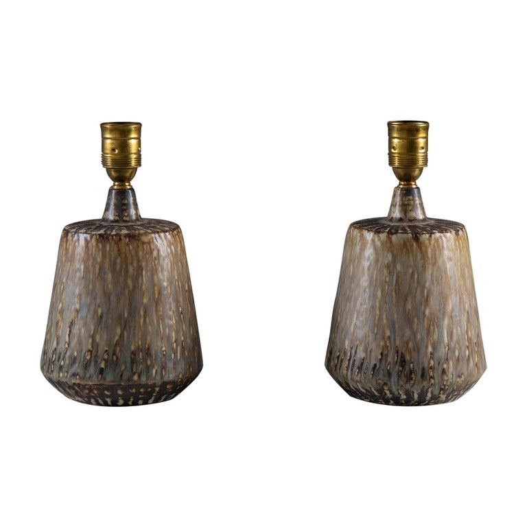 Swedish Midcentury Ceramic Table Lamps by Gunnar Nylund For Sale
