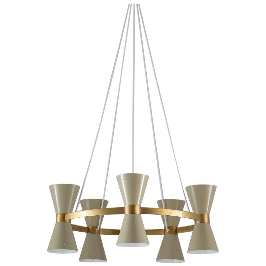 Swedish Midcentury Chandelier in Brass and Metal by Alf Svensson for Bergboms