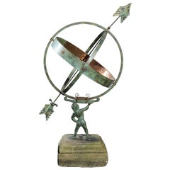 Swedish Midcentury Copper Armillary Depicting Atlas Mounted on Stone Base