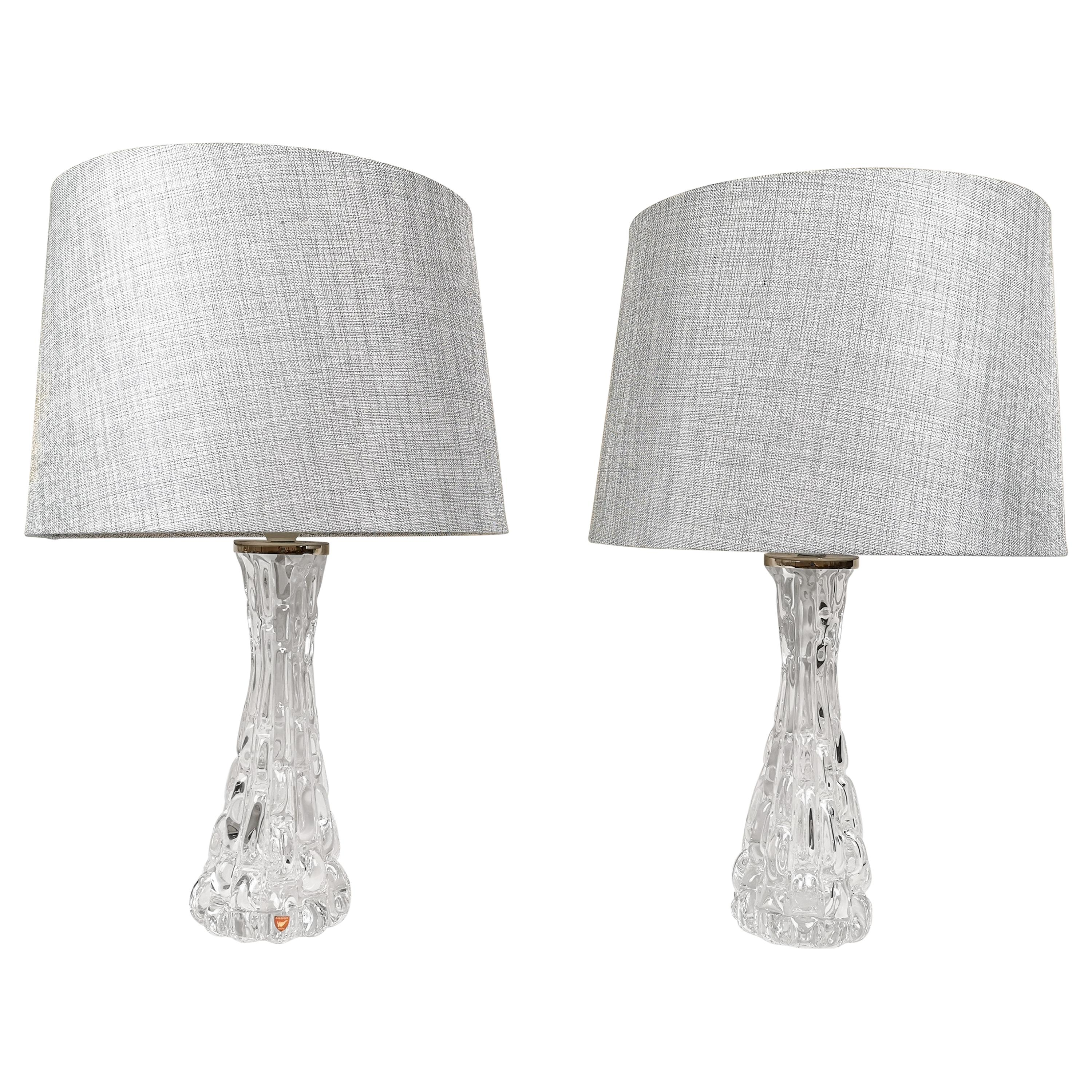 Swedish Midcentury Crystal Table Lamps Orrefors by Carl Fagerlund
