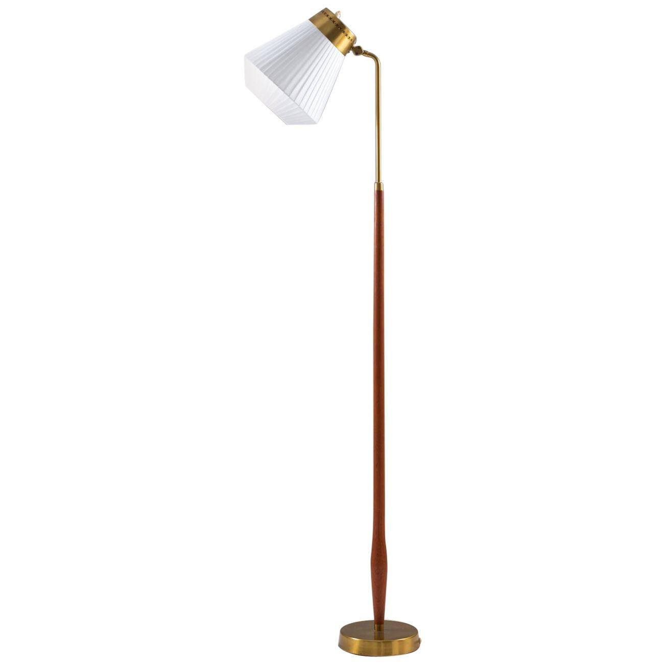 Swedish Midcentury Floor Lamp in Brass and Teak by ASEA, 1950s